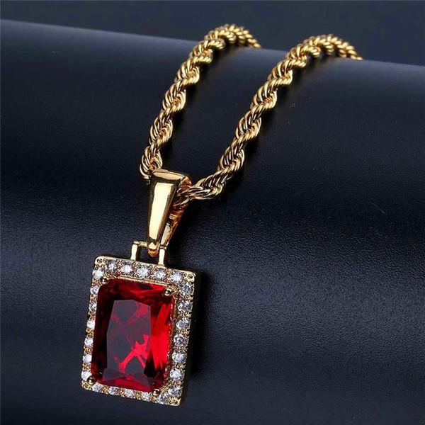 Fashion Red Gem Pendant Necklaces Unisex Luxury 18K Gold Plated Chains Jesus Charms Necklace Men Women Hip Hop Necklaces Lover Gift