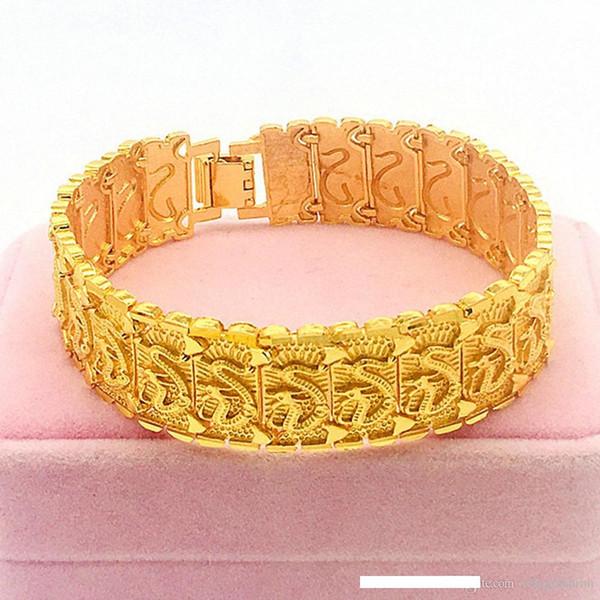 Pulsera dragón 19,5 cm de largo negro oro bronce regalo joyas hombre nuevo Top