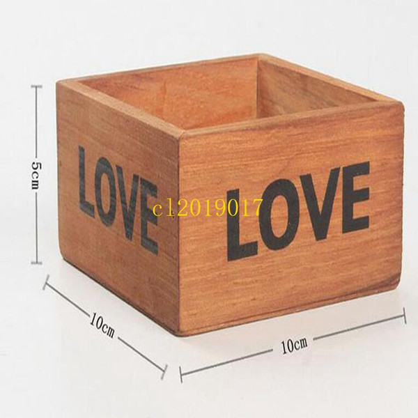 50pcs/lot Rustic Natural Wooden LOVE Letter Succulent Plant Flower Bed Pot Box Home Garden Planter Free Shipping