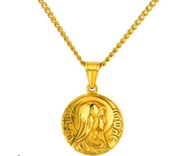Hommes Designer Colliers Rond Jésus Pendentif Collier De Luxe Charme Chaîne Collier Bijoux pour Cadeau Religion Or Argent