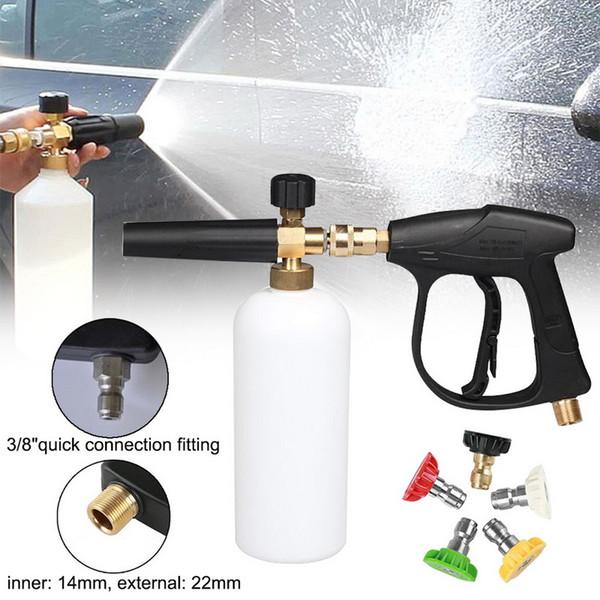 Alta presión arandela del coche pistola ajustable Botella 1L espuma de nieve de espuma Lanza con conector rápido Blaster