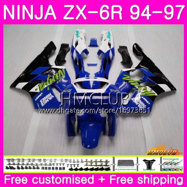 Bodys For KAWASAKI NINJA ZX 636 600CC ZX6R 94 95 96 97 61HM22 ZX600 ZX636 ZX-6R 94 97 ZX 6 R 6R 1994 1995 1996 1997 Fairing Gloss blue black
