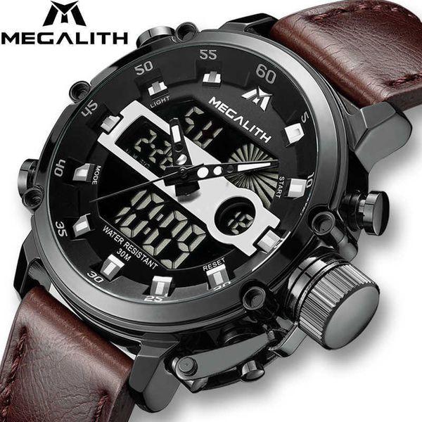 MEGALITH Мода мужская LED Спортивные Кварцевые Часы Мужчины Многофункциональный Водонепроницаемый Дата Световой Наручные Часы Мужчины Часы Horloges Mannen J190614