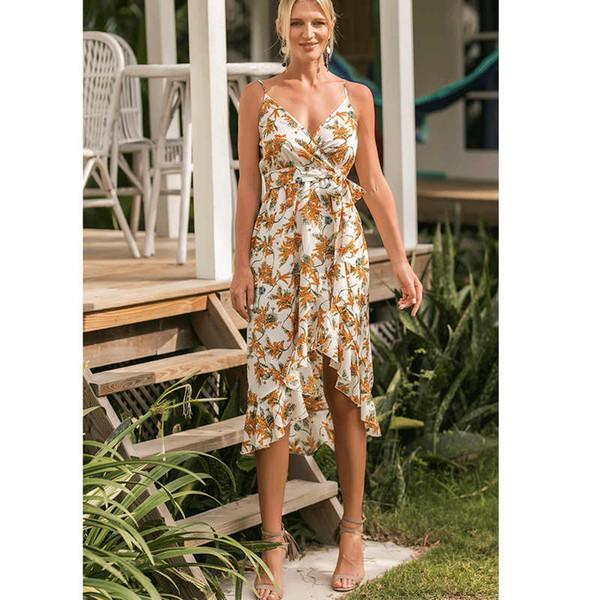 Boho Floral Sleeveless Midi Kleider Fashion Styles Frauen Print Sommer V-Ausschnitt Taschen Plissee Backless Button Kleider