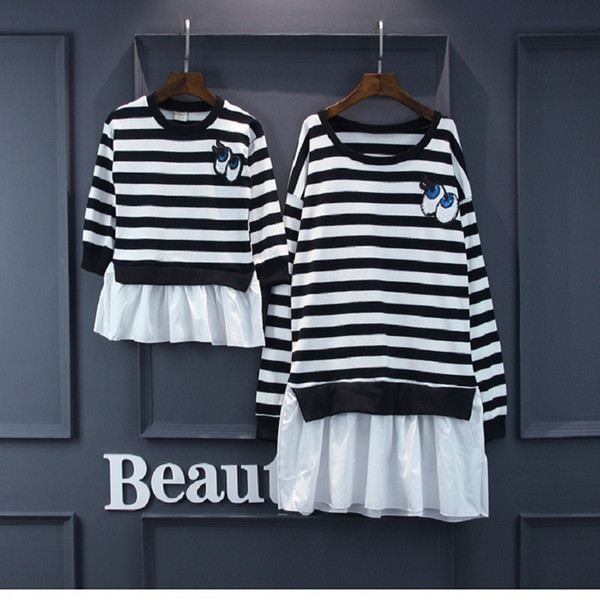 Family Clothing Mother Daughter Baby Dresses Mum Mom And Daughter Matching Clothes Korean Style Stripe Eyes Kids Funny Suit Set Y19051103