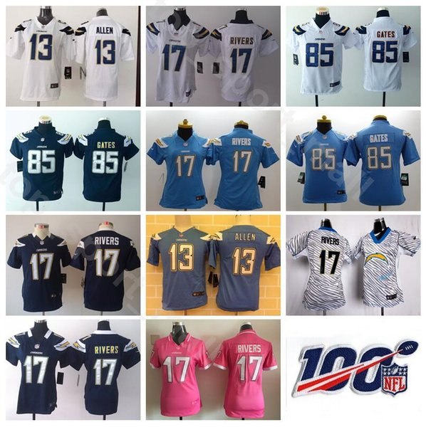 low priced 7adc0 de5e8 2019 Youth Chargers Jersey Los Angeles Women Football 17 Philip Rivers 13  Keenan Allen 85 Antonio Gates Lady Kids Navy Blue White 100th Patch From ...