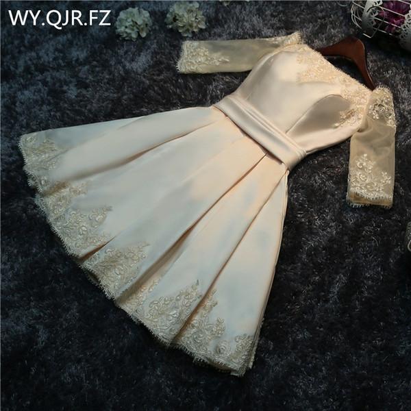Fotos reales al por mayor moda vestido de fiesta 2016 primavera verano novia casada tostada ropa vestido de dama de honor corto champán