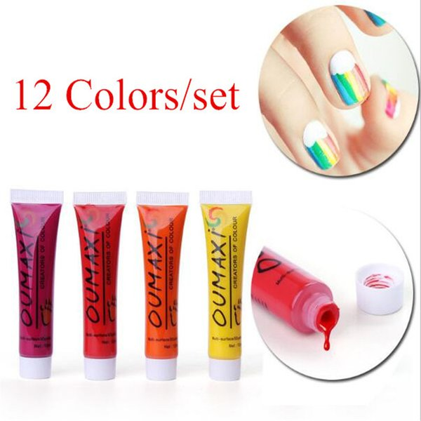 top popular 1 SET 12 Colors Painting Acrylic 3D Nail Art Paint Tube Draw Nail Art Tip UV Gel 3D Paint Decoration Nail Art Dropship C048 2021