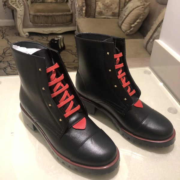 2019 NEW 19SS Collection spring fall womens black RED REAL Leather PATCHWORK design LACE UP flat Rubber sole Military Combat biker BOOTS