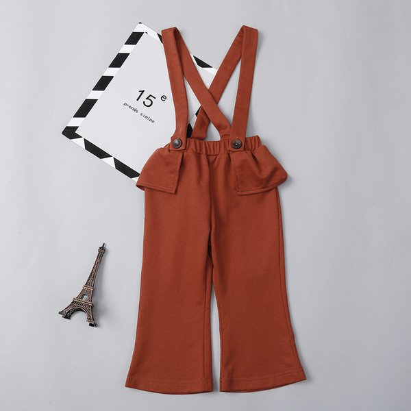 2018 New Fashion Toddler Kids Girls Ruffles pantaloni grandi Tuta senza maniche posteriore pantaloni croce tuta abiti 1-7Y ragazze Clothes.YO62B