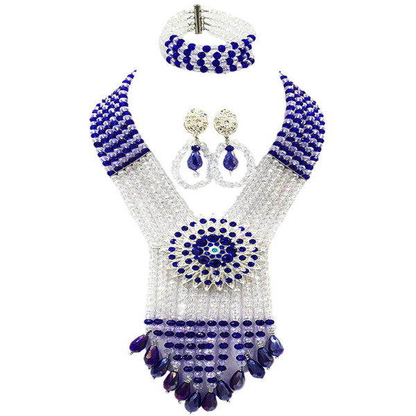 Royal Blue Clear AB African Beads Jewelry Set Crystal Necklace with Big Flower Brooches Nigerian Wedding Accessories 6SDLS04