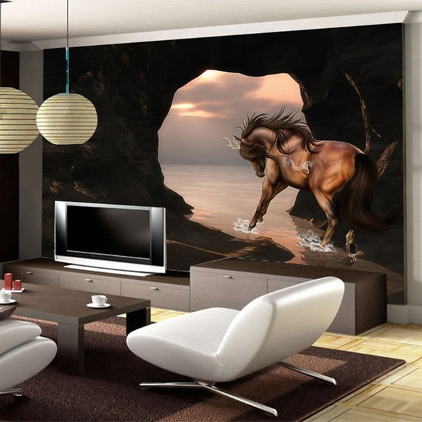 Spatial Extension Personality Wall Mural Wallpaper 3D Stereo Seaside Horse Wall Painting Fresco Living Room TV Backdrop 3D Decor