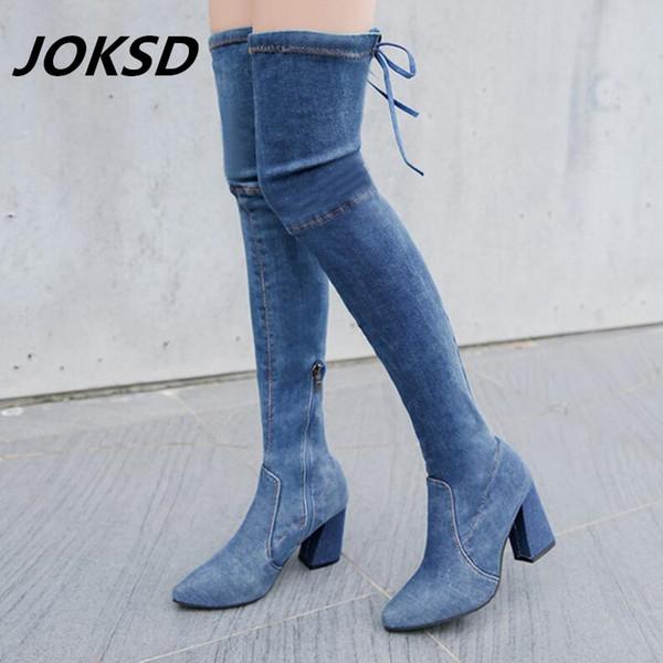 Женские качественные плотные джинсовые сапоги Бедро высокие сапоги Сексуальная мода на коленях Женская обувь Черный Синий L110