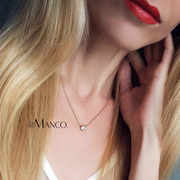 Chain Necklaces e-Manco Cubic Zircon Luxury Necklace for Women Classic Long Statement Necklaces Fashion Jewelry Women Accessories Unisex