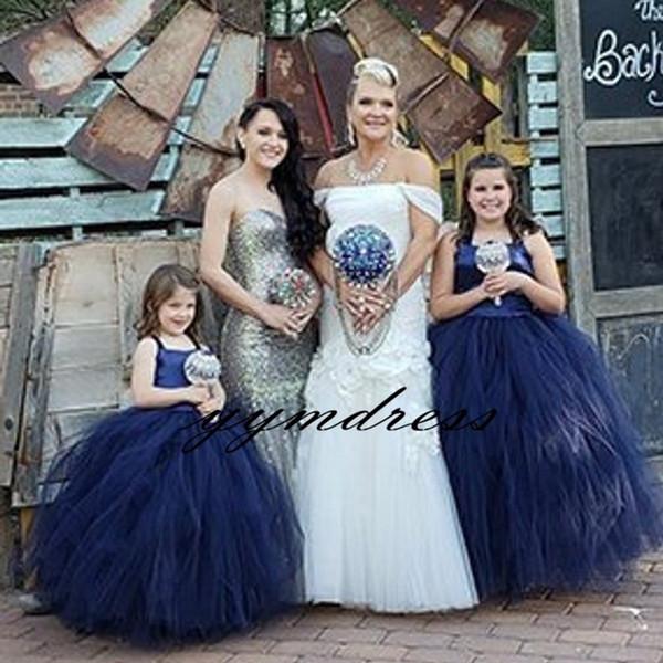 Robes de filles de fleurs bleu foncé 2019 Halter Neck enfants robe formelle robes de mariée junior robe de première communion
