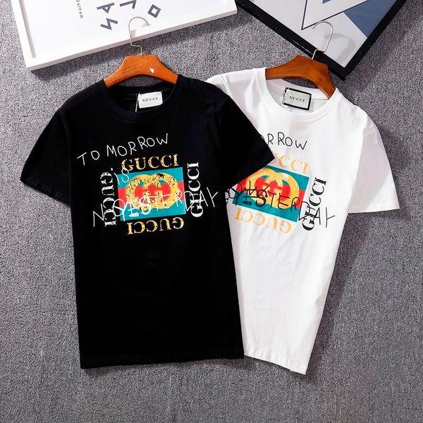 Новые мужские футболки грязный письмо печати небольшой шею с коротким рукавом моды диких высокого качества с коротким рукавом