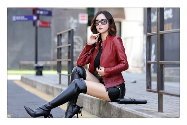 2018 autumn fashion women casual black leather jacket green slim short jacket o-neck pu - from $47.27