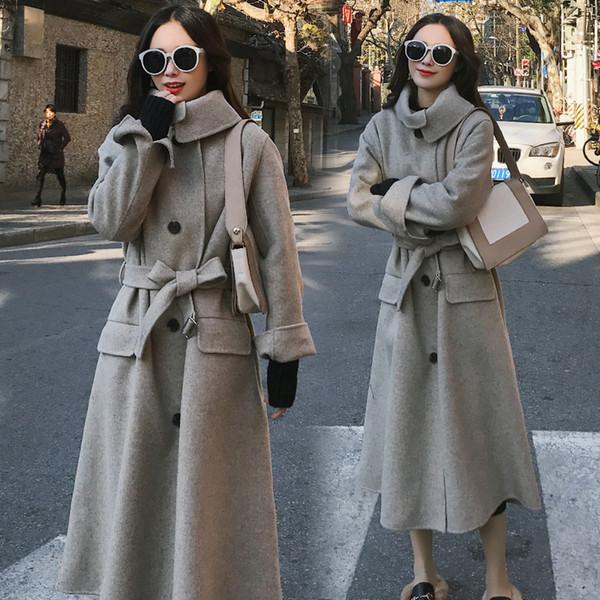 Laine femmes automne hiver femmes causales manteau de laine col rabattu simple boutonnage avec épais manteau de ceinture
