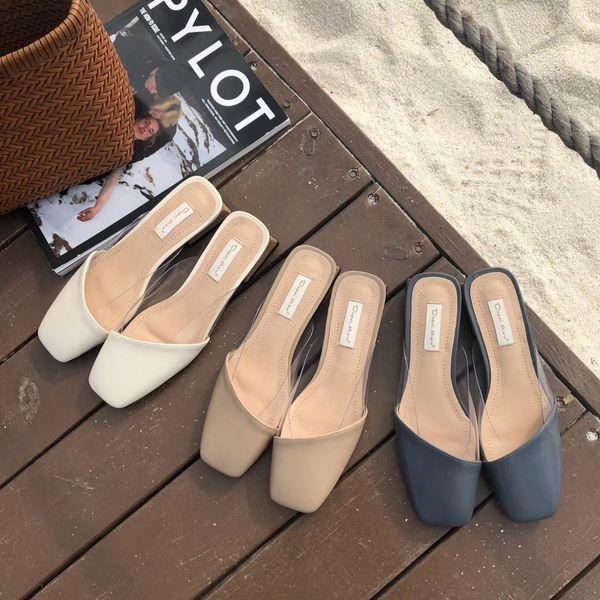 Yaz Katı Kadınlar Kapalı Toe Terlik Dışında Düşük Düz Dışında Slaytlar Ile Olgun Tatlı Kadın Ayakkabı