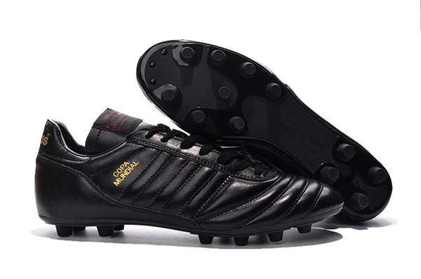 Hombres Copa Mundial de cuero FG Zapatos de fútbol Botines de fútbol Copa del mundo Botines de fútbol Negro Blanco Botines Futbol Tamaño 39-45