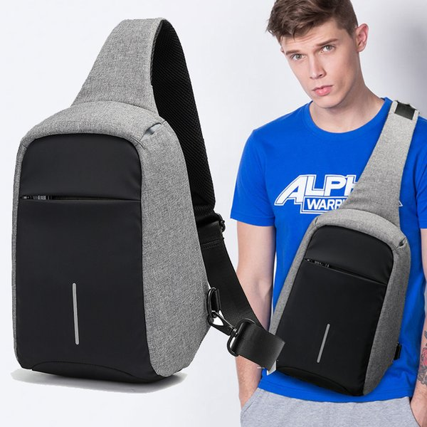 Casual Crossbody Bags For Men Riding Chest Bags Waterproof Canvas Messenger Chest Bag Male Anti-theft 9.7 Inch Ipad Shoulder Bag