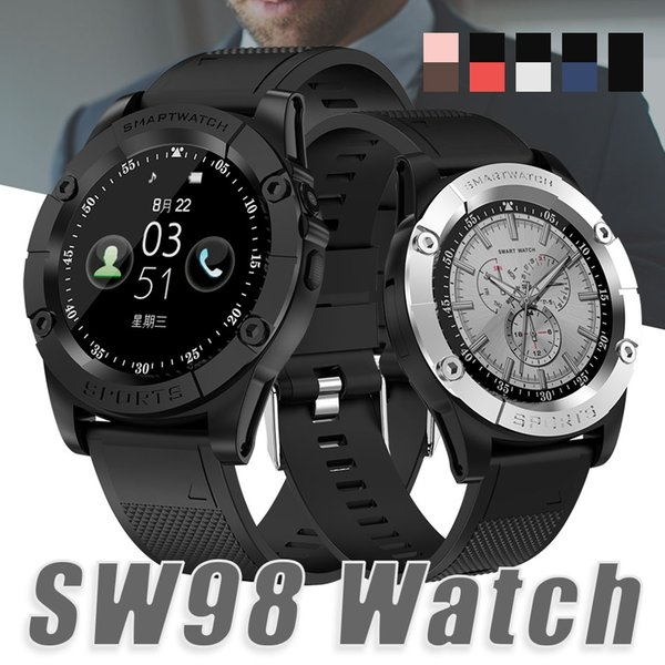 Schermo nuova Smart Guarda SW98 Bluetooth smart Guarda HD Motor Smartwatch con la macchina fotografica contapassi Mic per IOS Android PK DZ09 U8 in scatola