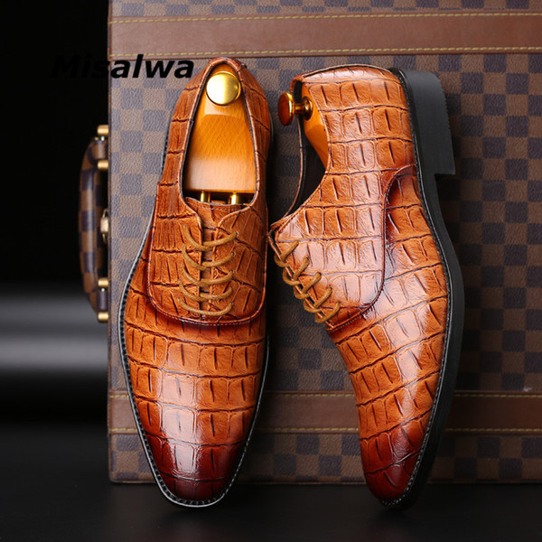 Misalwa Classic Men Shoes For Wedding Brand PU Leather Suit Easy wear Men Pointed Toe Shoes Lace-Up Business Formal Dress