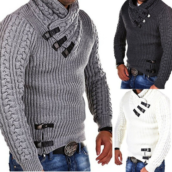 autumn long sleeve sweater man leather button pullover plus size jumper sweater black gray white pullover men's sweaters