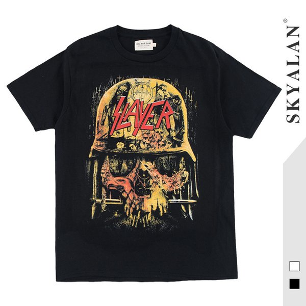 Cool2019 Rock Street High Short T Pity Male Tide Brand Helmet Human Skeleton Metal Band Lovers Hip Hop Half Sleeve Tee