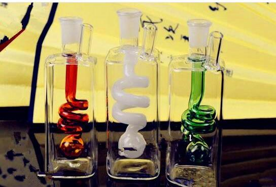 Square pipe coil spring water cigarette pot Bongs Oil Burner Pipes Water Pipes Glass Pipe Oil Rigs Smoking Free Shippin