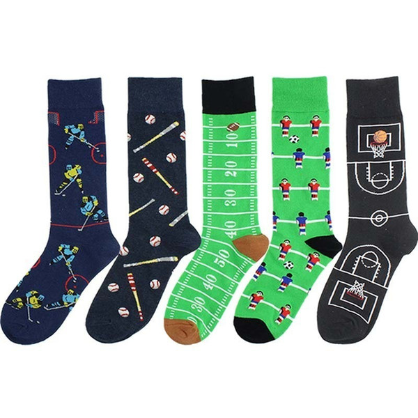 Men's Cotton Funny Socks Harajuku Creative Pattern Happy Socks Dress Wedding Novelty Socks Clacetines Hombre Divertidos 2pcs=1pairs