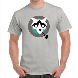 Nouvelle Mission Impossible Rogue Nation Raccoon Benji Dunn pipe T-shirt gris