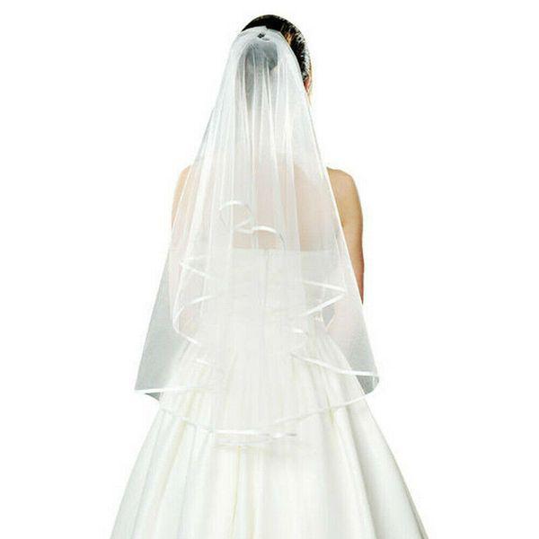 Blanco Marfil Boda Mujeres Blanco Hen's Nigh Velos Novia Novia Velo Yema del dedo Con el peine Satén borde