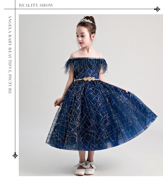 Compre Bateau Azul Marino Vestidos De Niña De Flores Volver Cremallera Vestidos Para Niñas Vestidos De Encaje Vestido De Niña Pequeña Cinturón Dorado