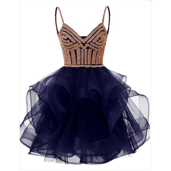 Cocktail Dresses Robe de Soiree Ruffles Prom Party Dress Backless Sexy Lace up Double Straps Abkendlerider