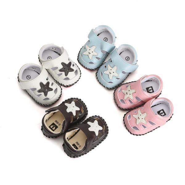 Летние детские сандалии для мальчиков Star Pu Leather Infant Girls First Shoes Симпатичные пряжки с мягкой подошвой для малышей Prewalker