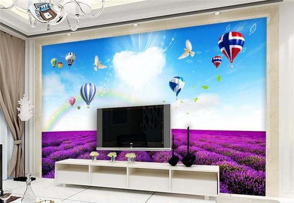 Custom 3D Photo Wallpaper Mural Living Room Sofa TV Backdrop Mural sky Balloon Lavender Scenery Picture Wallpaper Mural Sticker Home Decor