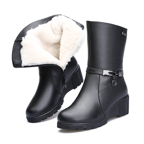 2018 New Winter Warm Comfortable Wool Boots Women Shoes Snow Boots Wedges Knight Black Genuine Leather Shoes Woman