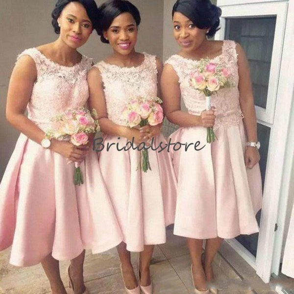 Elegant Blush Pink Short Lace Bridesmaid Dresses South African Sexy Knee Length Satin Pleats maid of honor dresses Cheap Prom Dress 2018