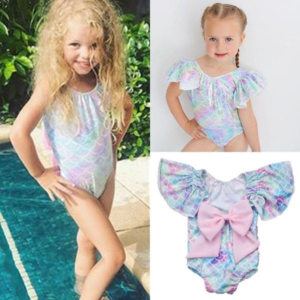 Summer adorable Infant Kid Baby Girl Mermaid One-Piece Swimwear ruffles sleeve cute Swimsuit Bikini Bathing Costume Beachwear
