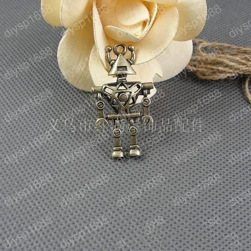 10pcs 24*45MM Antique bronze tibetan 3D hollow robot charms vintage metal pendants diy necklace bracelet earring jewelry making material