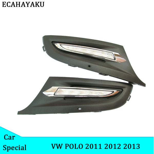 ECAHAYAKU Für Volkswagen Polo 2011 2012 2013 Auto-Nebel-Licht-Lampen-Abdeckung Fernlicht-Scheinwerfer führte Tageslicht DRL Deckel Ersatzlauf