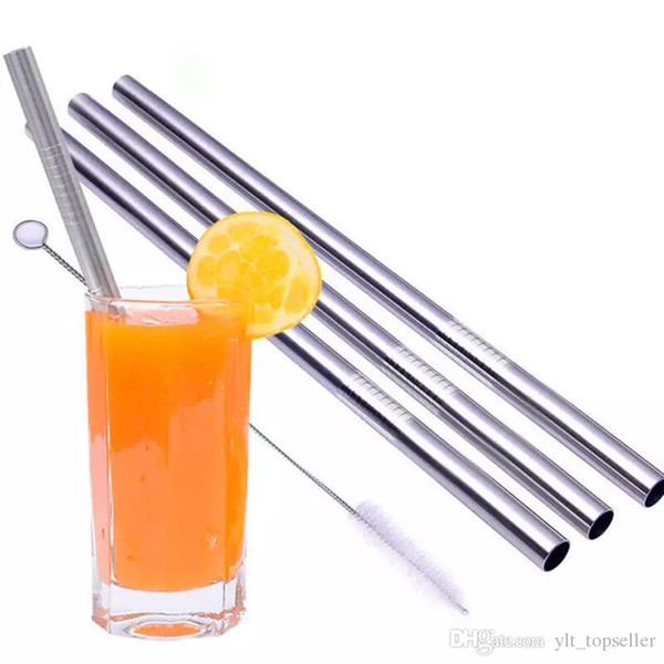 All kinds of size straight and bend stainless steel straw and cleaning brush reusable drinking straw bar drinking tools