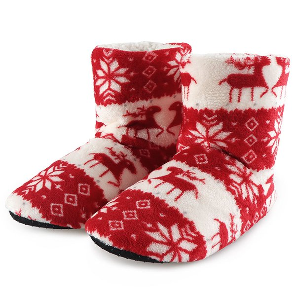 Winter Woman Slippers Plush Warm Cotton Home Slippers Christmas Elk Indoor Socks Shoes Ladies Woman Floor Mules Shoes