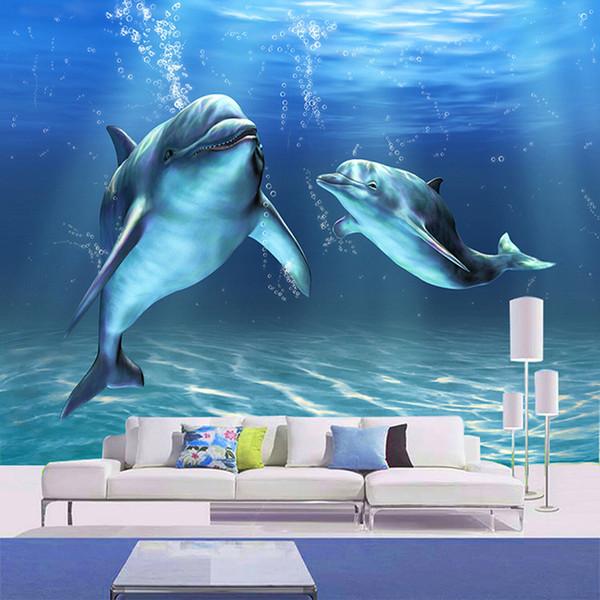 Custom Photo Wallpaper 3D Stereoscopic Mural Bedroom Living Room TV Background Decor Non-woven Printed Wallpaper Marine Dolphin