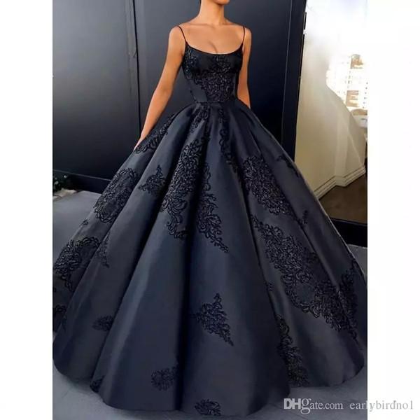 Dark Navy Backless Abendkleider Ballkleid Plus Size Spitze Appliques Sexy Abendkleid Lange Satin Formale Kleider 2018