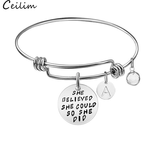 Stainless Steel Women Girls Inspirational Quotes Bangle Heart Charm Bracelets & Bangles She Believe She Could So She Did Gift Wholesale Asian Gold