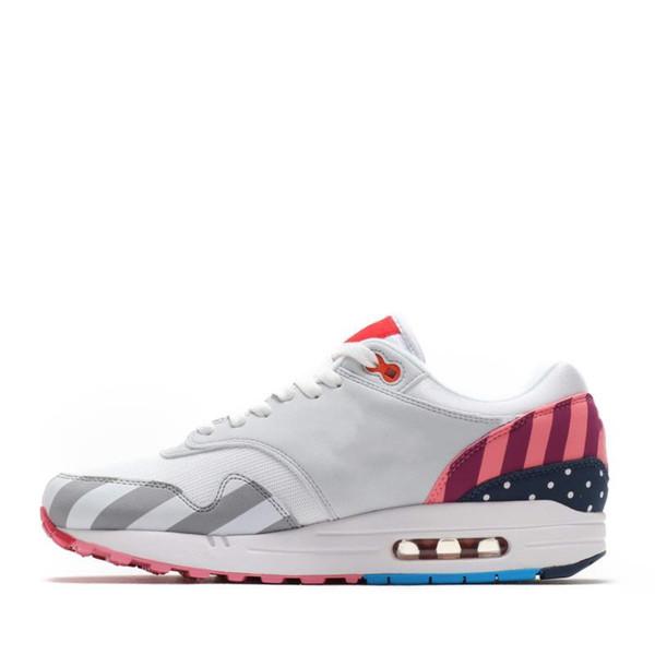 Großhandel Mit Box 2018 Nike Air Max 1 X Parra Chaussures Piet Parra X 1 Weiß Multi Rainbow Designer Damen Herren Laufschuhe Marke Damen Sneakers