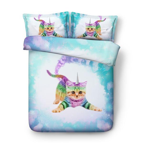 gato unicornio galaxy fundas de edredón juegos de cama reina determinada de la estrella ropa de cama de gemelo a gemelo del gato para las niñas colchas gato gemelas para la reina