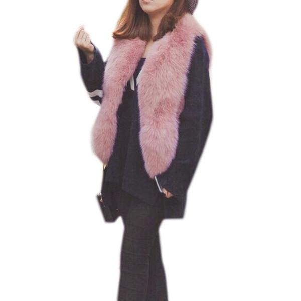 Women Faux Fox Fur Vest Coat 2018 Winter Thick Warm Jacket Pink Fur Vest Outwear Korean Fashion Short Faux Fur Coats For Female